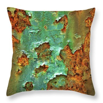 Rust And Deep Aqua Blue Abstract Throw Pillow by Brooke T Ryan