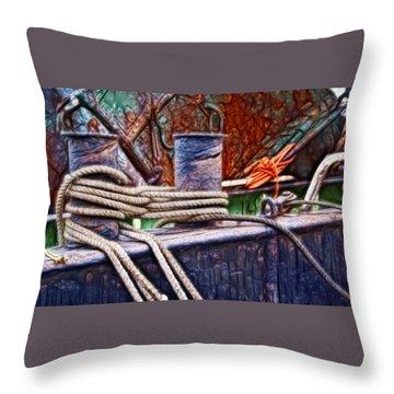 Rust And Rope Throw Pillow by Cameron Wood