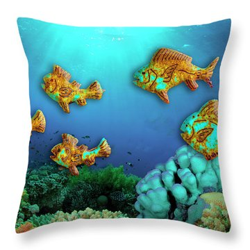Throw Pillow featuring the photograph Rust Fish by Paul Wear