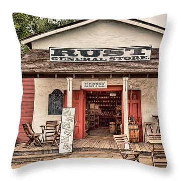 Rust General Store Throw Pillow