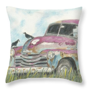Throw Pillow featuring the drawing Rust In Peace by Arlene Crafton