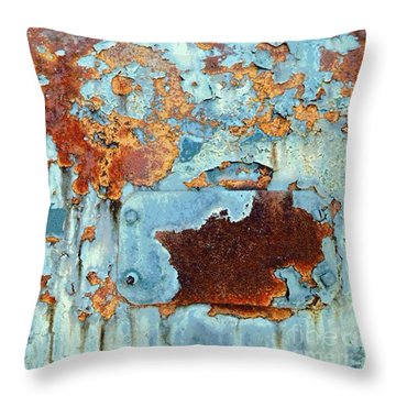 Throw Pillow featuring the photograph Rust - My Rusted World - Train - Abstract by Janine Riley