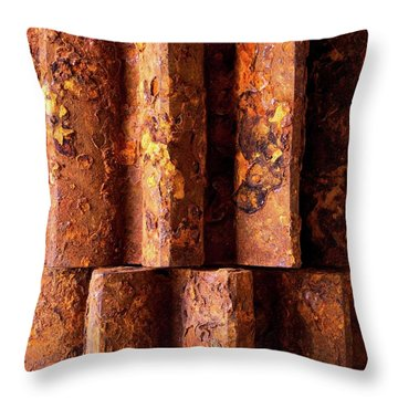 Rusted Gears 2 Throw Pillow by Jim Hughes