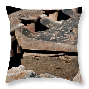 Throw Pillow featuring the photograph Rusted Rail by Colleen Coccia