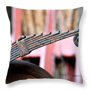 Rusted Suspension Part  Throw Pillow by Kae Cheatham