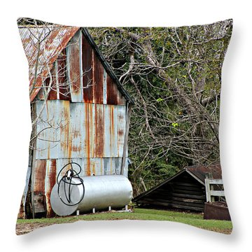 Rusted Tin Shed In Burnt Corn Throw Pillow