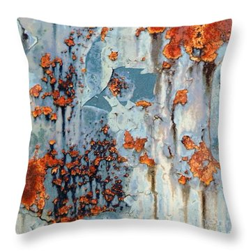 Throw Pillow featuring the photograph Rusted World - Orange And Blue - Abstract by Janine Riley
