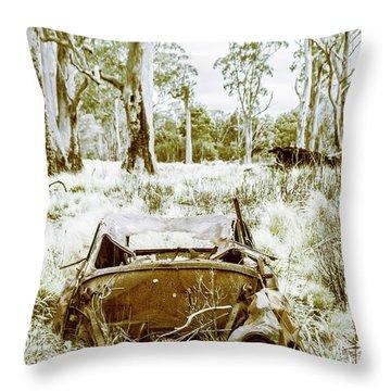 Rustic Australian Car Landscape Throw Pillow