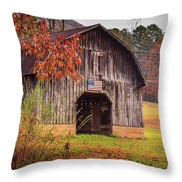 Rustic Barn In Autumn Throw Pillow
