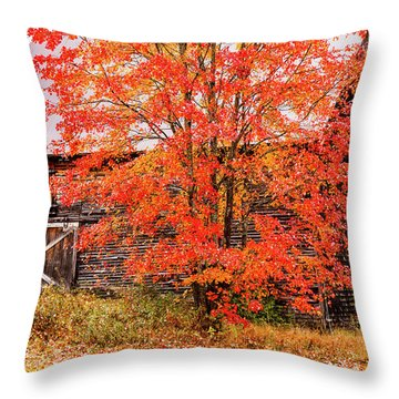 Throw Pillow featuring the photograph Rustic Barn In Fall Colors by Jeff Folger