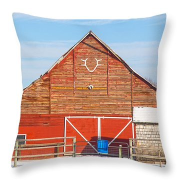 Rustic Barn In Idaho Throw Pillow