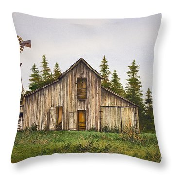 Throw Pillow featuring the painting Rustic Barn by James Williamson