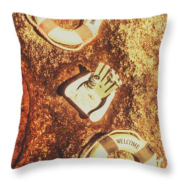 Rustic Beach Decorations  Throw Pillow