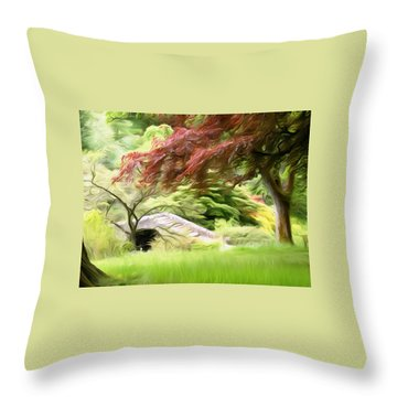 Rustic Bridge Throw Pillow