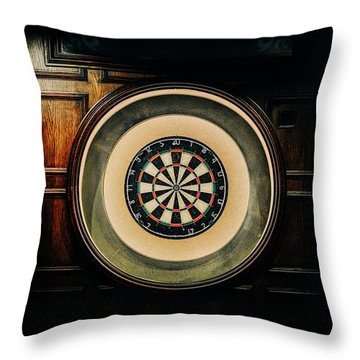 Rustic British Dartboard Throw Pillow