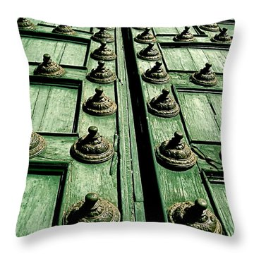 Rustic Church Door Throw Pillow by Valerie Rosen