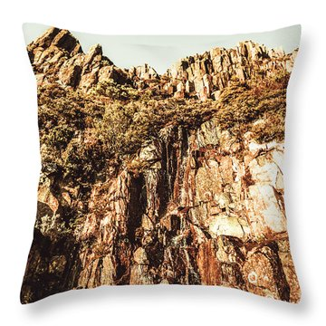 Rustic Cliff Spring Throw Pillow