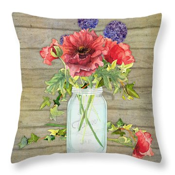 Rustic Country Red Poppy W Alium N Ivy In A Mason Jar Bouquet On Wooden Fence Throw Pillow