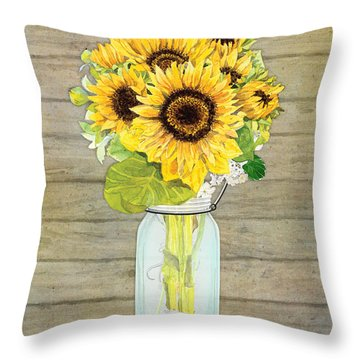 Rustic Country Sunflowers In Mason Jar Throw Pillow