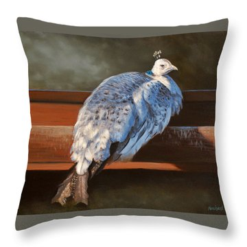 Rustic Elegance - White Peahen Throw Pillow