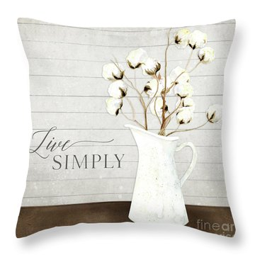 Rustic Farmhouse Cotton Boll Milk Pitcher Live Simply Throw Pillow