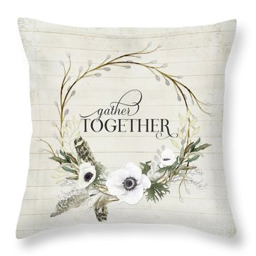 Rustic Farmhouse Gather Together Shiplap Wood Boho Feathers N Anemone Floral 2 Throw Pillow
