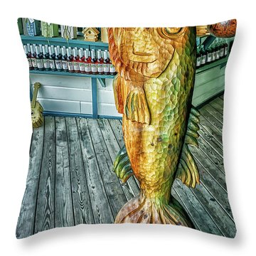 Rustic Fish Throw Pillow