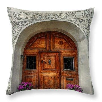 Rustic Front Door Throw Pillow