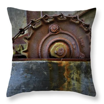 Throw Pillow featuring the photograph Rustic Gear And Chain by David and Carol Kelly