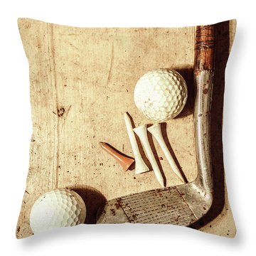 Rustic Golf Club Memorabilia Throw Pillow