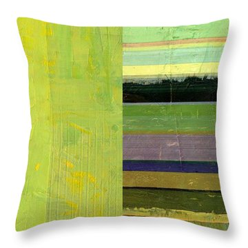 Throw Pillow featuring the painting Rustic Green Flag With Stripes by Michelle Calkins