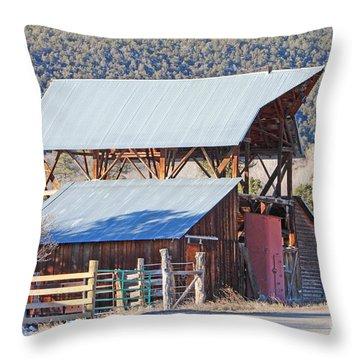Rustic Hay Barn Cedaredge Colorado Throw Pillow