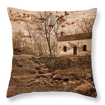 Rustic Lockhouse Mural Throw Pillow by Nicolas Raymond