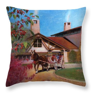 Throw Pillow featuring the painting Rustic Lodge by Nancy Lee Moran