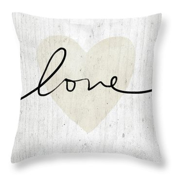 Throw Pillow featuring the mixed media Rustic Love Heart- Art By Linda Woods by Linda Woods