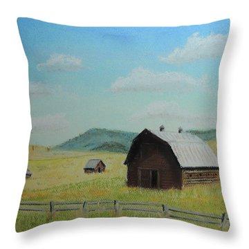 Rustic Montana Barn Throw Pillow by Jayne Wilson