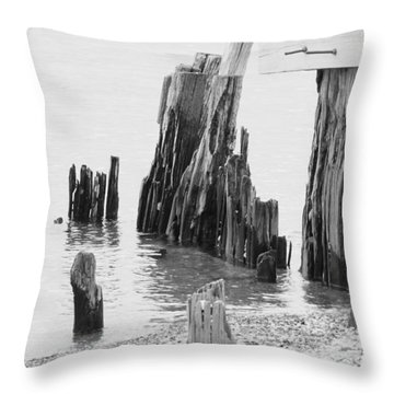 Rustic Pilings In Bw Throw Pillow