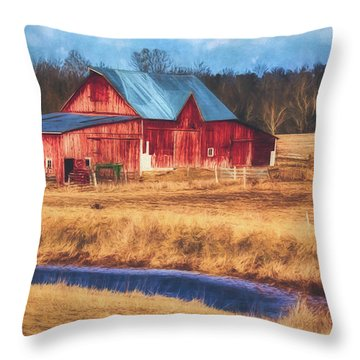 Rustic Red Barn Throw Pillow