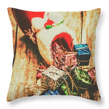 Rustic Red Xmas Stocking Throw Pillow
