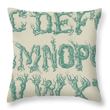 Rustic Vine Font Capital Letters Throw Pillow