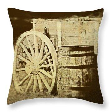 Rustic Wagon And Barrel Throw Pillow
