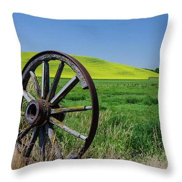 Rustic Wagon Wheel In The Palouse Throw Pillow by James Hammond