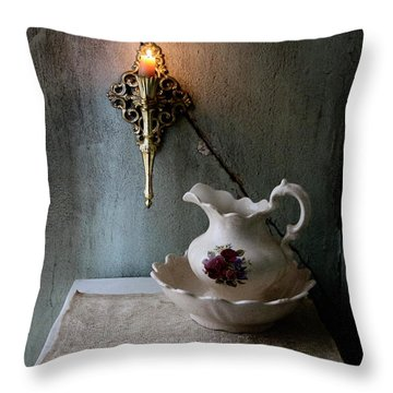 Rustic Water Closet With Brass Sconce And A Pretty Floral Patter Throw Pillow