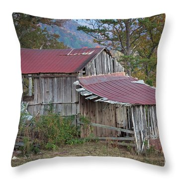 Throw Pillow featuring the photograph Rustic Weathered Hillside Barn by John Stephens