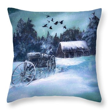 Rustic Winter Barn  Throw Pillow