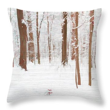 Rustic Winter Forest Throw Pillow by Dan Sproul