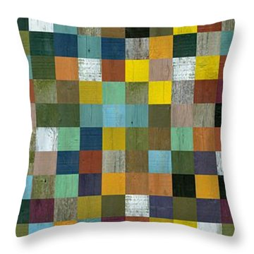 Rustic Wooden Abstract Tower Throw Pillow