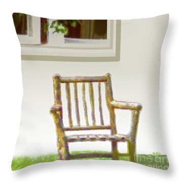 Rustic Wooden Rocking Chair Throw Pillow