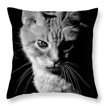 Rustie, Blind, Deaf Extroadinaire Black And White Throw Pillow