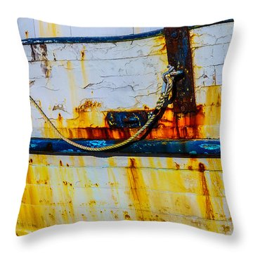 Rusting Fishing Boat Detail Throw Pillow